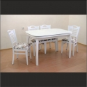 Beyaz Ahşap Dikdörtgen Masa Sandalye Takımı